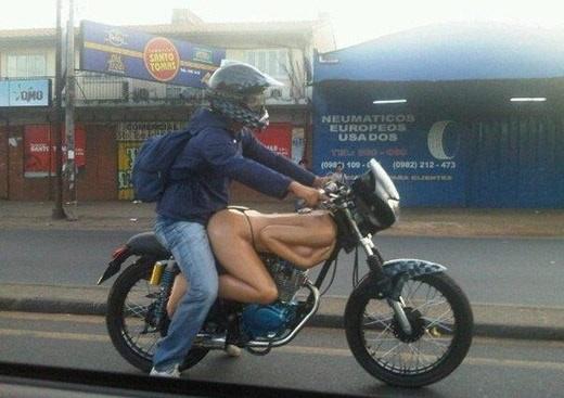 Girl model motorcycle naked
