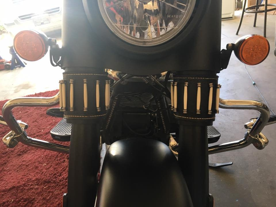 Tan leather fork wraps for Indian Vintage Motorcycle