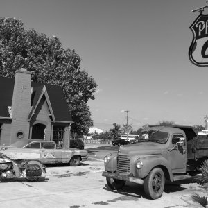 Gas station Route 66 Chandler Ok b/w